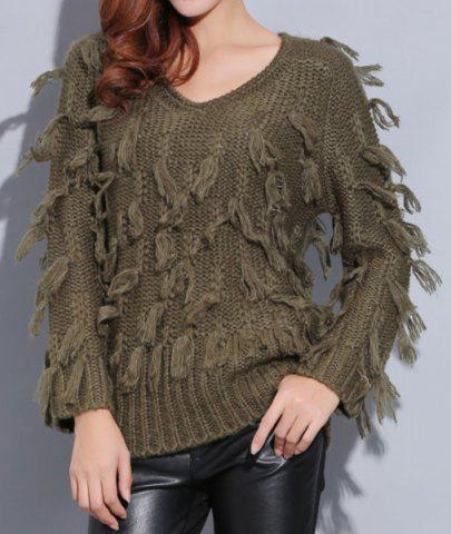 Outfit Street Style V-Neck Pure Color Mohair Long Sleeve Sweater For Women