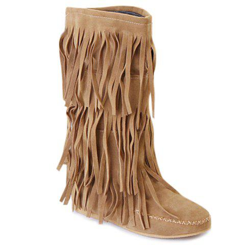 Affordable Sweet Round Toe and Fringe Design Women's Mid-Calf Boots