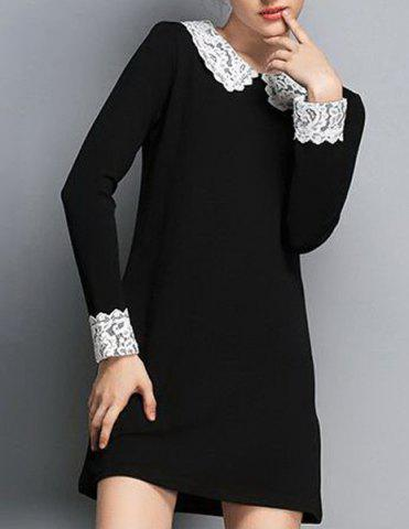 Black Simple Flat Collar Long Sleeve Spliced Women S Dress