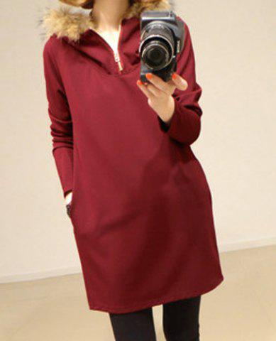 Casual Hooded Solid Color Long Sleeve Women s Dress