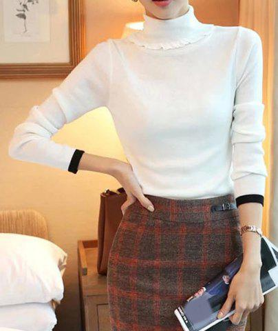 Unique Elegant Turtleneck Solid Color Long Sleeves Sweater For Women WHITE L