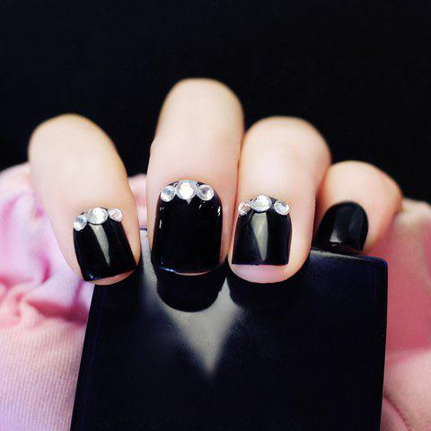 24 PCS Chic Rhinestone Decorated Black Color Nail Art False Nails 116298001