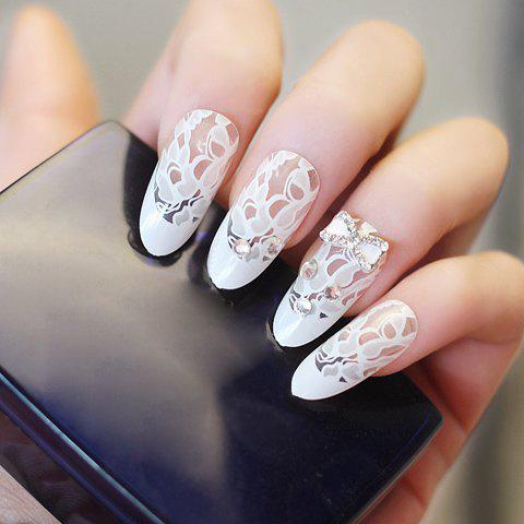 24 PCS Chic Rhinestone and Bowknot Decorated Lace Pattern Nail Art False Nails 116294401