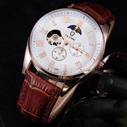 Affordable Tevise 0264 Male Wristwatch Moon Phases Automatic Mechanical Watch Leather Strap Round Dial
