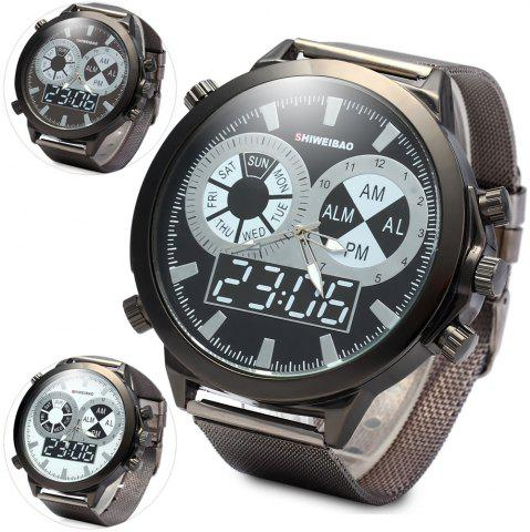 New SHIWEIBAO A1052 Male Quartz Watch with Round Dial Steel Watchband BLACK