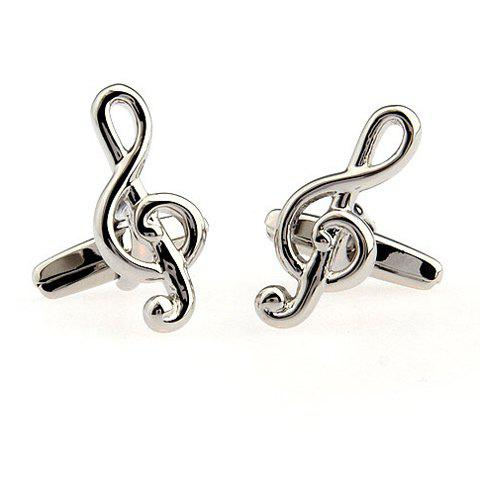 Fashion Pair of Chic Solid Color Musical Note Shape Alloy Cufflinks For Men - SILVER  Mobile