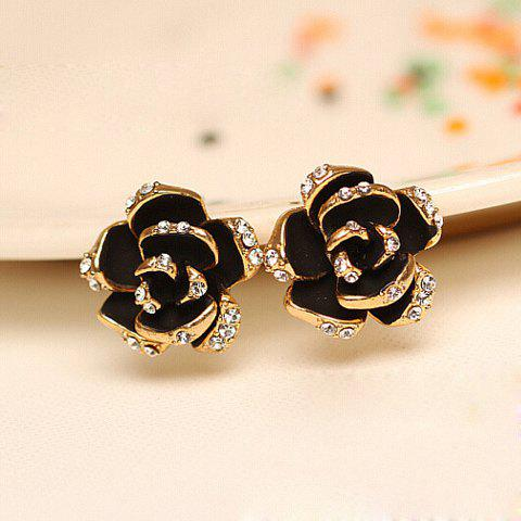 Sale Pair of Chic Women's Rhinestone Color Glazed Rose Design Earrings