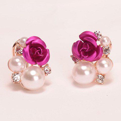 Cheap Faux Pearl Rose Stud Earrings ROSE MADDER