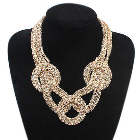 Affordable Statement Round Gold Plated Necklace GOLDEN