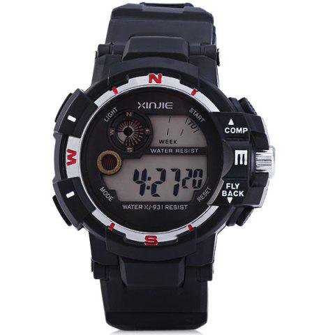 Unique Xinjie 931 LED Military Watch Light Week Alarm Round Dial for Sports - ORANGE  Mobile