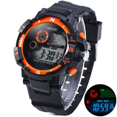 Outfit Xinjie 931 LED Military Watch Light Week Alarm Round Dial for Sports - ORANGE  Mobile