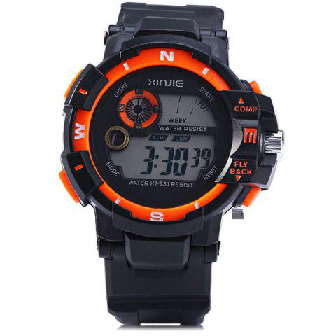 Fashion Xinjie 931 LED Military Watch Light Week Alarm Round Dial for Sports - ORANGE  Mobile