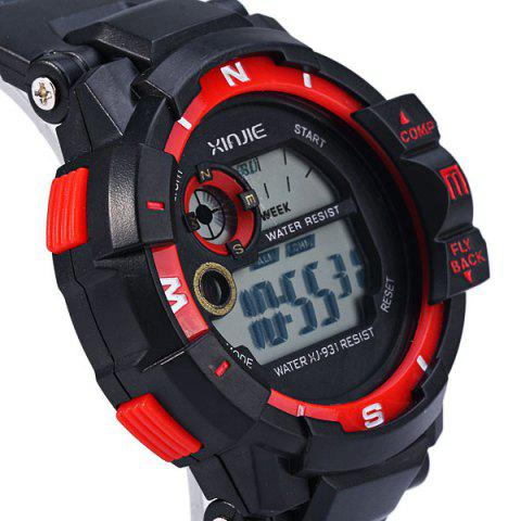 Shops Xinjie 931 LED Military Watch Light Week Alarm Round Dial for Sports - ORANGE  Mobile
