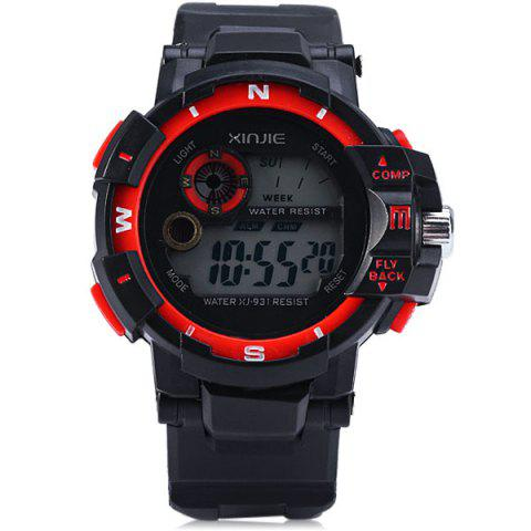 Affordable Xinjie 931 LED Military Watch Light Week Alarm Round Dial for Sports - ORANGE  Mobile