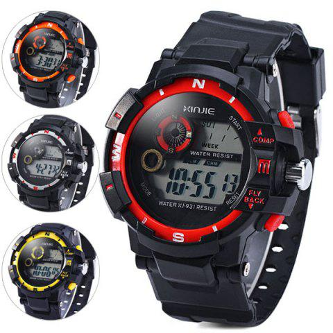 Online Xinjie 931 LED Military Watch Light Week Alarm Round Dial for Sports - ORANGE  Mobile
