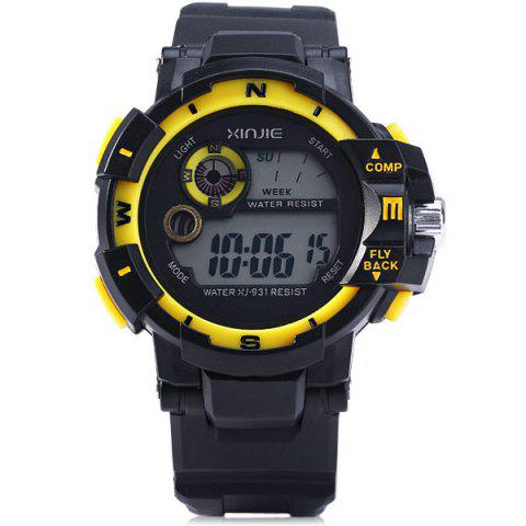 Discount Xinjie 931 LED Military Watch Light Week Alarm Round Dial for Sports - ORANGE  Mobile