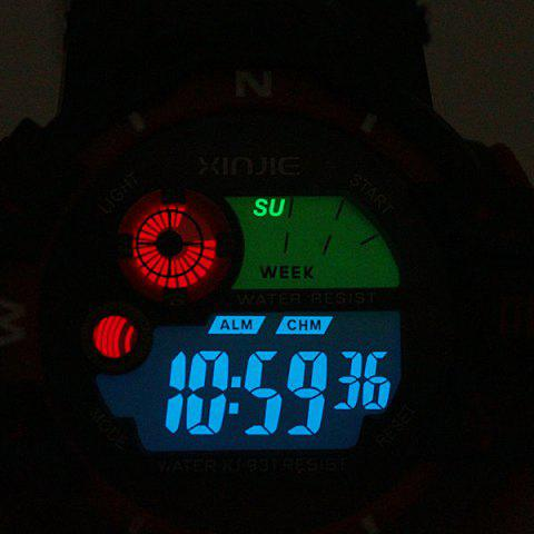Store Xinjie 931 LED Military Watch Light Week Alarm Round Dial for Sports - ORANGE  Mobile