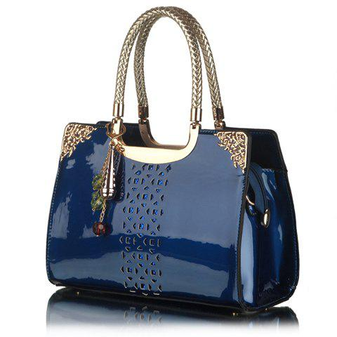 Buy Trendy Openwork and Pandent Design Women's Patent Leather Tote Bag