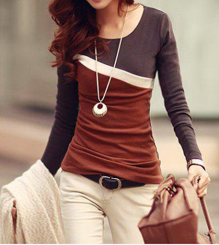 New Stylish Scoop Neck Color Block Long Sleeve Women's T-Shirt DUN L