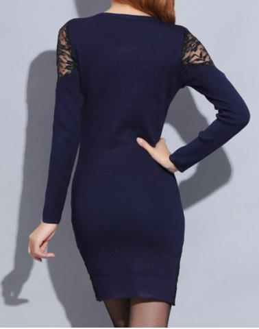 Shops Knitted Long Sleeve Dress with Lace - ONE SIZE(FIT SIZE XS TO M) SAPPHIRE BLUE Mobile