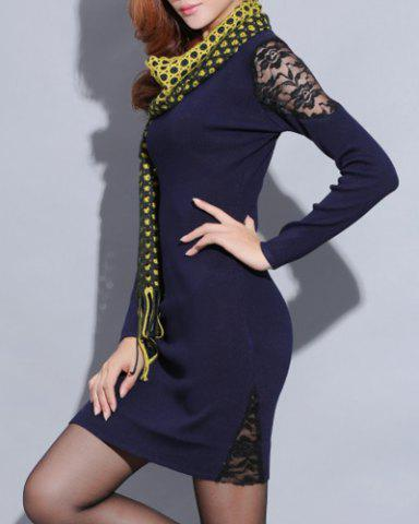 Sale Knitted Long Sleeve Dress with Lace - ONE SIZE(FIT SIZE XS TO M) SAPPHIRE BLUE Mobile