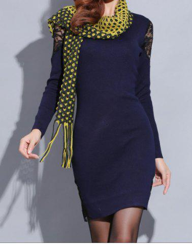Online Knitted Long Sleeve Dress with Lace - ONE SIZE(FIT SIZE XS TO M) SAPPHIRE BLUE Mobile