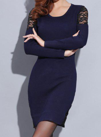 Fashion Knitted Long Sleeve Dress with Lace - ONE SIZE(FIT SIZE XS TO M) SAPPHIRE BLUE Mobile