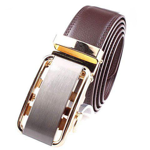 Chic Chic Rectangle Shape Metal Buckle Solid Color Belt For Men COFFEE