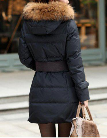 Shop Stylish Hooded Solid Color Black Coat For Women - M BLACK Mobile