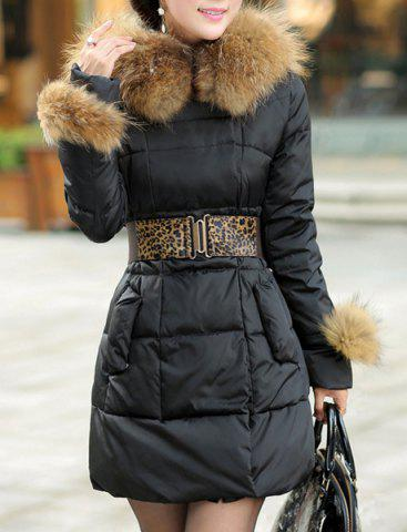 Trendy Stylish Hooded Solid Color Black Coat For Women - M BLACK Mobile