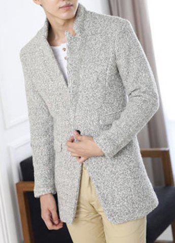 Stylish Stand Collar Slimming Solid Color Multi-Pocket Long Sleeve Thicken Woolen Blend Blazer For Men