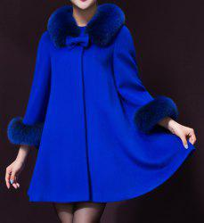 Stylish Turn-Down Neck Long Sleeve Spliced Bowknot Embellished Women's Coat