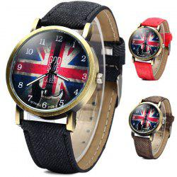 WoMaGe 1128-3 British Flag Pattern Female Quartz Watch Round Dial Leather Band -