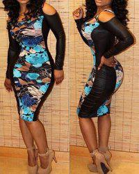 Sexy Scoop Neck Long Sleeve Spliced Printed Bodycon Women's Dress