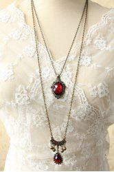 Chic Women's Beads Drop Pendant Layered Sweater Chain Necklace - COLORMIX