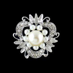 Fashionable Women's Rhinestone Faux Pearl Openwork Flower Brooch -