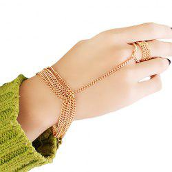Gold Plated Layered Link Design Bracelet With Ring -