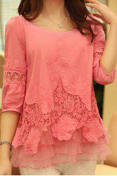 Stylish Scoop Neck 3/4 Sleeve Spliced Solid Color Women's Blouse -