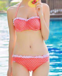 Cute Halter Push-Up Polka Dot Flounced Three-Piece Women's Swimsuit -