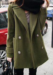 Casual Lapel Solid Color Long Sleeve Women's Woolen Coat