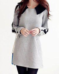 Sweet Peter Pan Collar Color Block Loose-Fitting Long Sleeve Women's T-Shirt