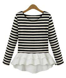 Stylish Scoop Neck Striped Chiffon Splicing Long Sleeve Women's T-Shirt