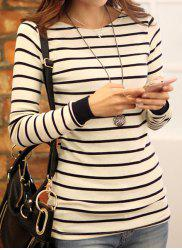 Stylish Striped Scoop Neck Long Sleeve T-Shirt For Women -