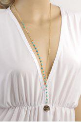 Ethnic Faux Kallaite Beads Decorated Sweater Chain Necklace - COLORMIX