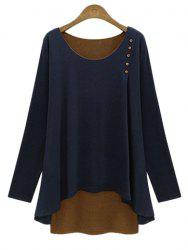 Stylish Scoop Neck Faux Twinset Design Long Sleeve T-Shirt For Women