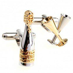 Pair of Chic Bottle and Wine Glass Shape Cufflinks For Men -