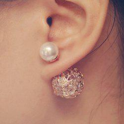 Pair of Openwork Rose Faux Pearl Rhinestone Design Earrings
