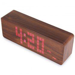 Red Light LED Wooden Alarm Clock Time Temperature Week Calendar Display for Home Office -