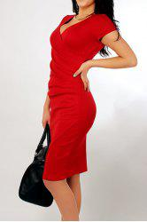Slimming Short Sleeve Solid Color Asymmetrical Women's Dress