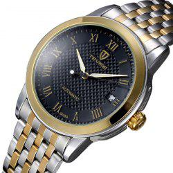 Tevise 8408A Analog Automatic Mechanical Watch Date Round Dial Stainless Steel Strap for Men